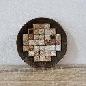 1960s Mid Century Modern Brass Mosaic Ring Dish